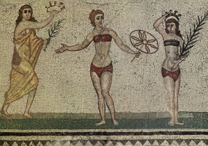 Girls with bikinis, Roman, Piazza Armerina, Sicily
